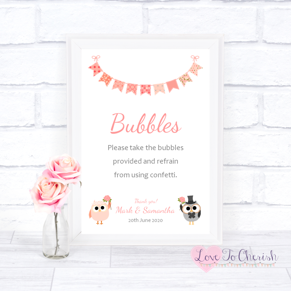 Bubbles Wedding Sign - Bride & Groom Cute Owls & Bunting Peach | Love To Ch