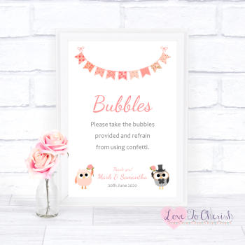 Bride & Groom Cute Owls & Bunting Peach - Bubbles - Wedding Sign