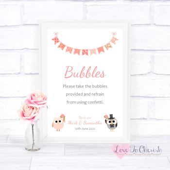 Bride & Groom Cute Owls & Bunting Peach - Bubbles - Wedding Sign