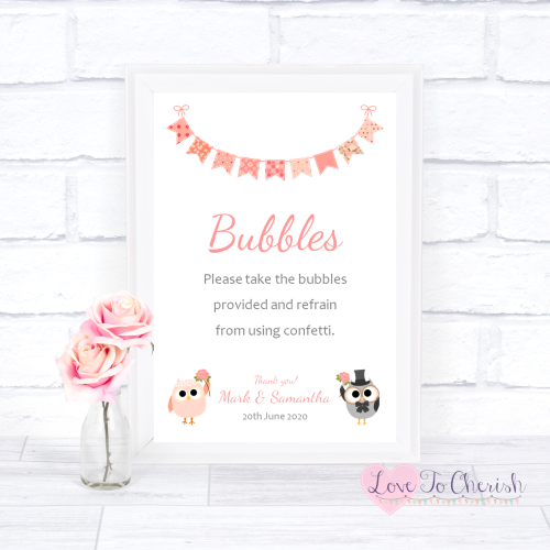 Bubbles Wedding Sign - Bride & Groom Cute Owls & Bunting Peach | Love To Ch