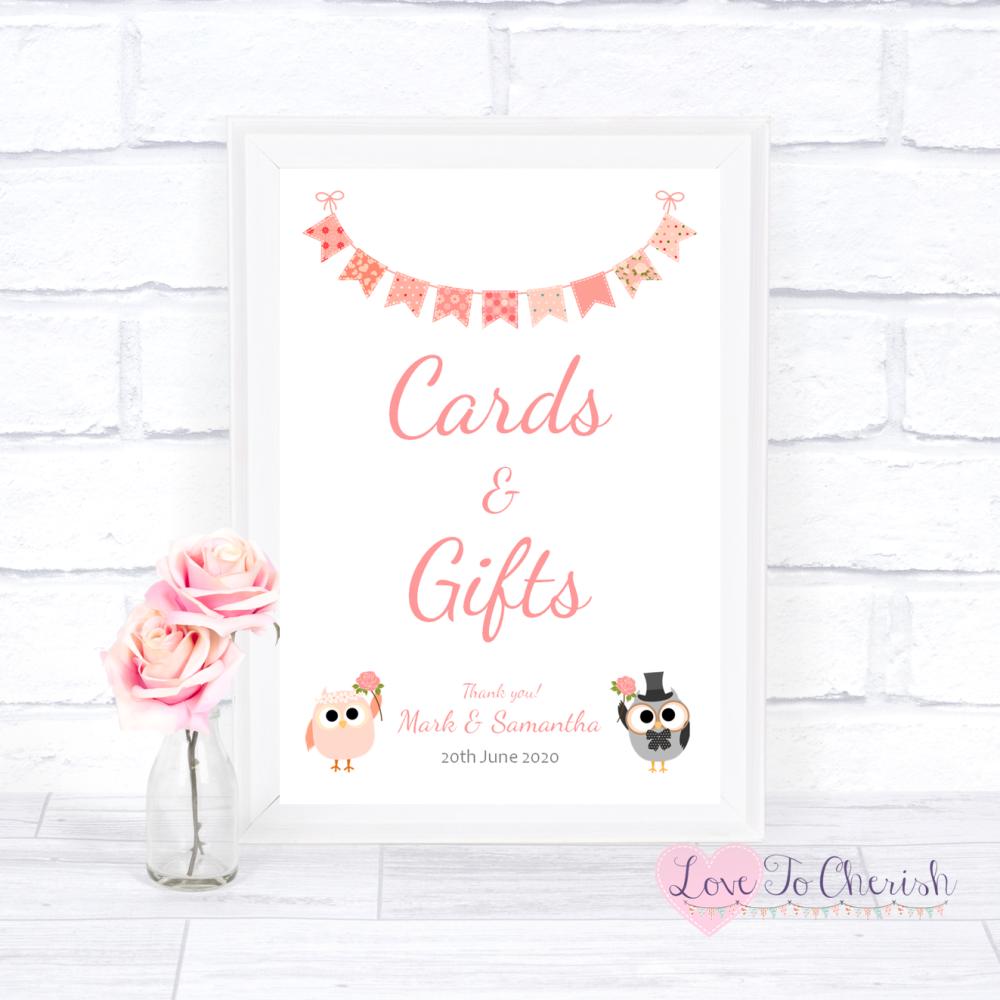 Cards & Gifts Wedding Sign - Bride & Groom Cute Owls & Bunting Peach   Love