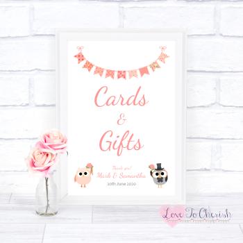 Bride & Groom Cute Owls & Bunting Peach - Cards & Gifts - Wedding Sign