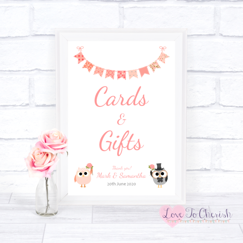 Cards & Gifts Wedding Sign - Bride & Groom Cute Owls & Bunting Peach | Love