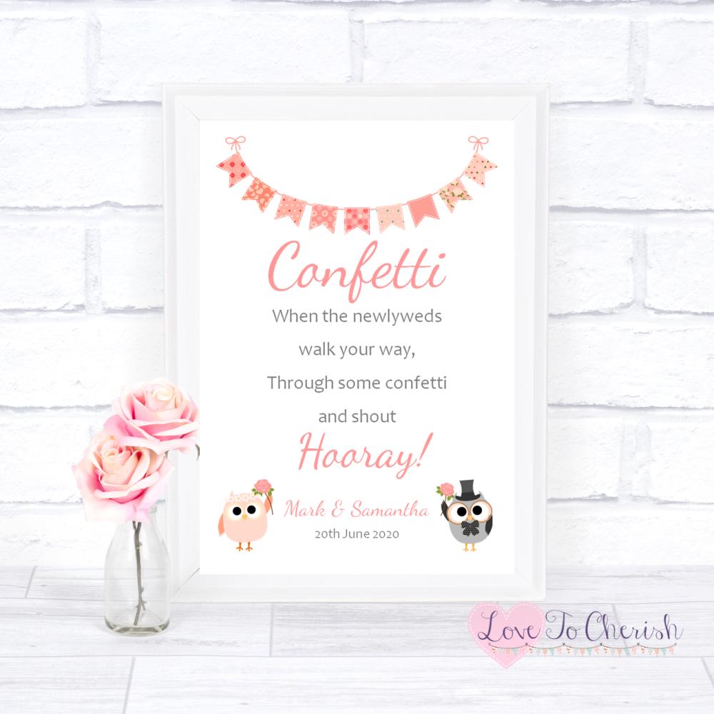 Confetti Wedding Sign - Bride & Groom Cute Owls & Bunting Peach   Love To C