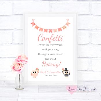 Bride & Groom Cute Owls & Bunting Peach - Confetti - Wedding Sign