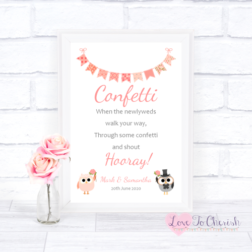 Confetti Wedding Sign - Bride & Groom Cute Owls & Bunting Peach | Love To C