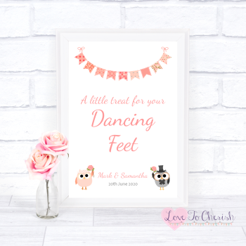 Bride & Groom Cute Owls & Bunting Peach - Dancing Feet  - Wedding Sign