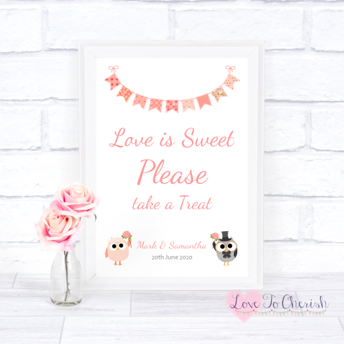Love Is Sweet / Candy Table Wedding Sign - Bride & Groom Cute Owls & Buntin