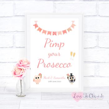 Bride & Groom Cute Owls & Bunting Peach - Pimp Your Prosecco - Wedding Sign