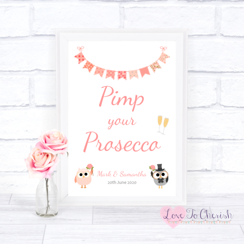 Pimp Your Prosecco Wedding Sign- Bride & Groom Cute Owls & Bunting Peach |