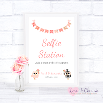Bride & Groom Cute Owls & Bunting Peach - Selfie Station  - Wedding Sign