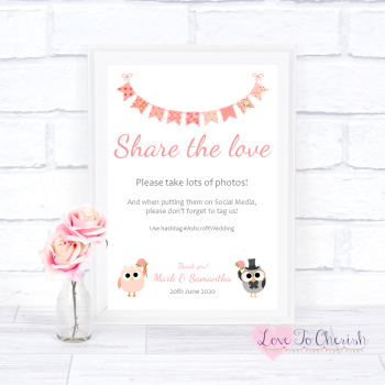 Bride & Groom Cute Owls & Bunting Peach - Share The Love - Photo Sharing - Wedding Sign