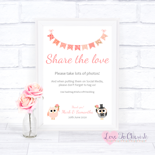 Share The Love / Photo Sharing Wedding Sign - Bride & Groom Cute Owls & Bun