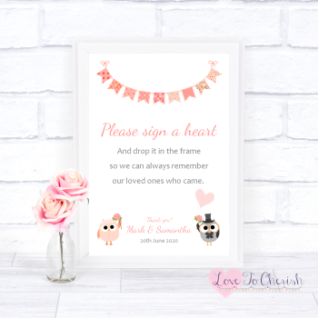 Bride & Groom Cute Owls & Bunting Peach - Sign A Heart - Wedding Sign