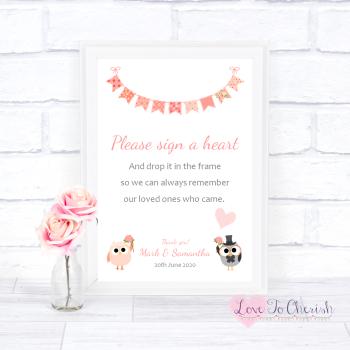 Bride & Groom Cute Owls & Bunting Peach - Sign A Heart - Wedding Sign