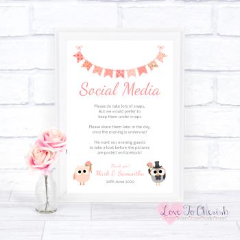 Bride & Groom Cute Owls & Bunting Peach - Social Media - Wedding Sign