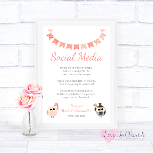 Social Media Wedding Sign - Bride & Groom Cute Owls & Bunting Peach | Love