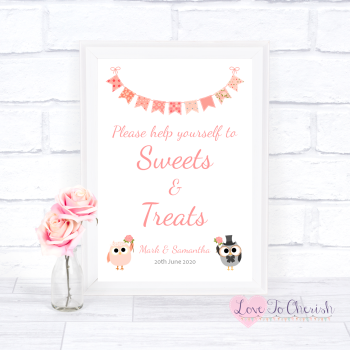 Bride & Groom Cute Owls & Bunting Peach - Sweets & Treats - Candy Table Wedding Sign