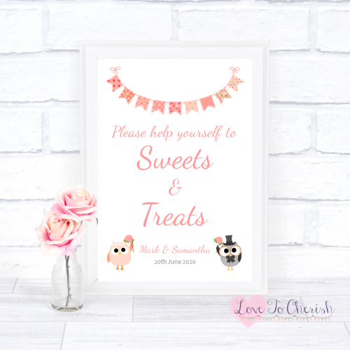 Sweets & Treats / Candy Table Wedding Sign - Bride & Groom Cute Owls & Bunt