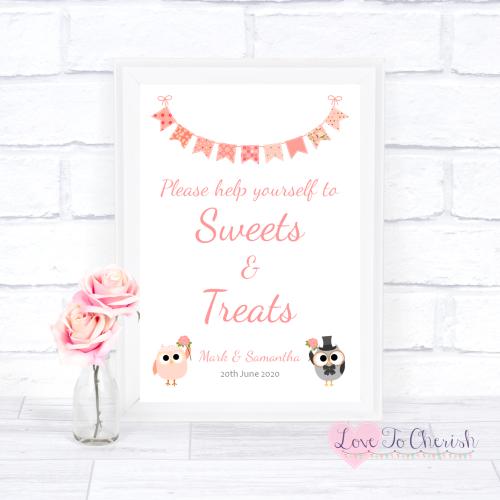 Sweets & Treats / Candy Table Wedding Sign - Bride & Groom Cute Owls & Bunt