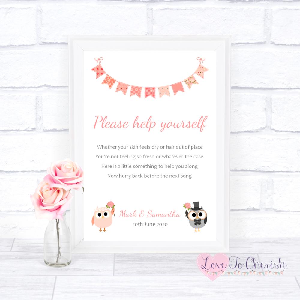 Toiletries/Bathroom Refresh Wedding Sign - Bride & Groom Cute Owls & Buntin
