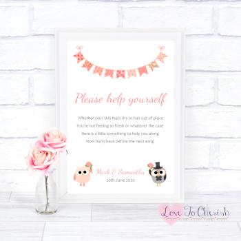 Bride & Groom Cute Owls & Bunting Peach - Toiletries/Bathroom Refresh - Wedding Sign