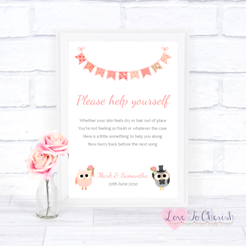 Toiletries/Bathroom Refresh Wedding Sign - Bride & Groom Cute Owls & Buntin