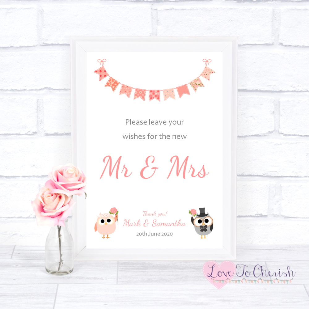 Wishes for the Mr & Mrs Wedding Sign - Bride & Groom Cute Owls & Bunting Pe