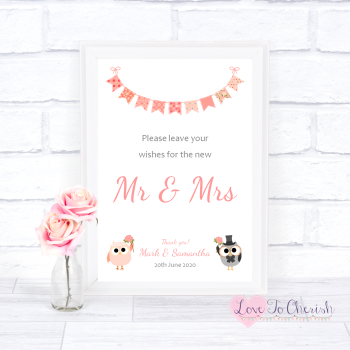Bride & Groom Cute Owls & Bunting Peach - Wishes for the Mr & Mrs - Wedding Sign