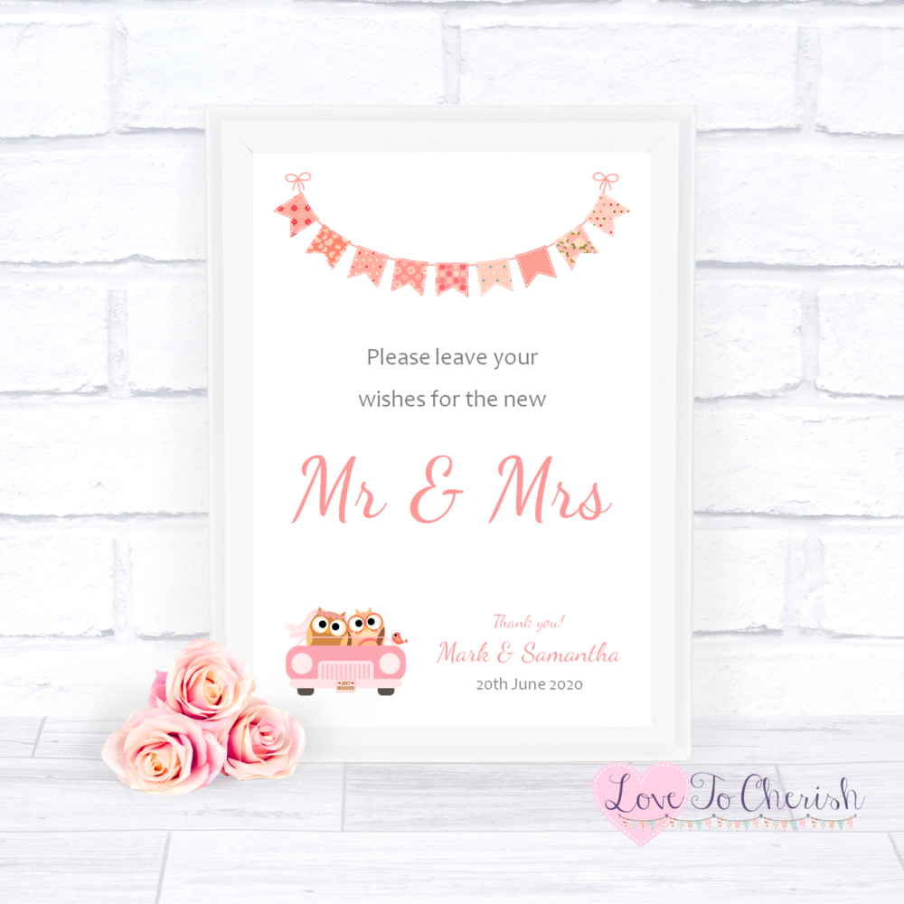 Wishes for the Mr & Mrs Wedding Sign - Bride & Groom Cute Owls in Car Peach