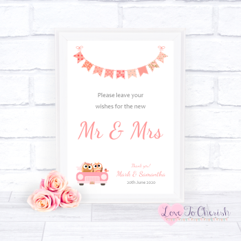 Bride & Groom Cute Owls in Car Peach - Wishes for the Mr & Mrs - Wedding Sign