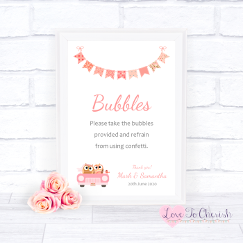 Bride & Groom Cute Owls in Car Peach - Bubbles - Wedding Sign