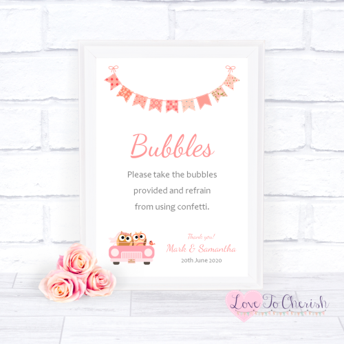 Bubbles Wedding Sign - Bride & Groom Cute Owls in Car Peach | Love To Cheri