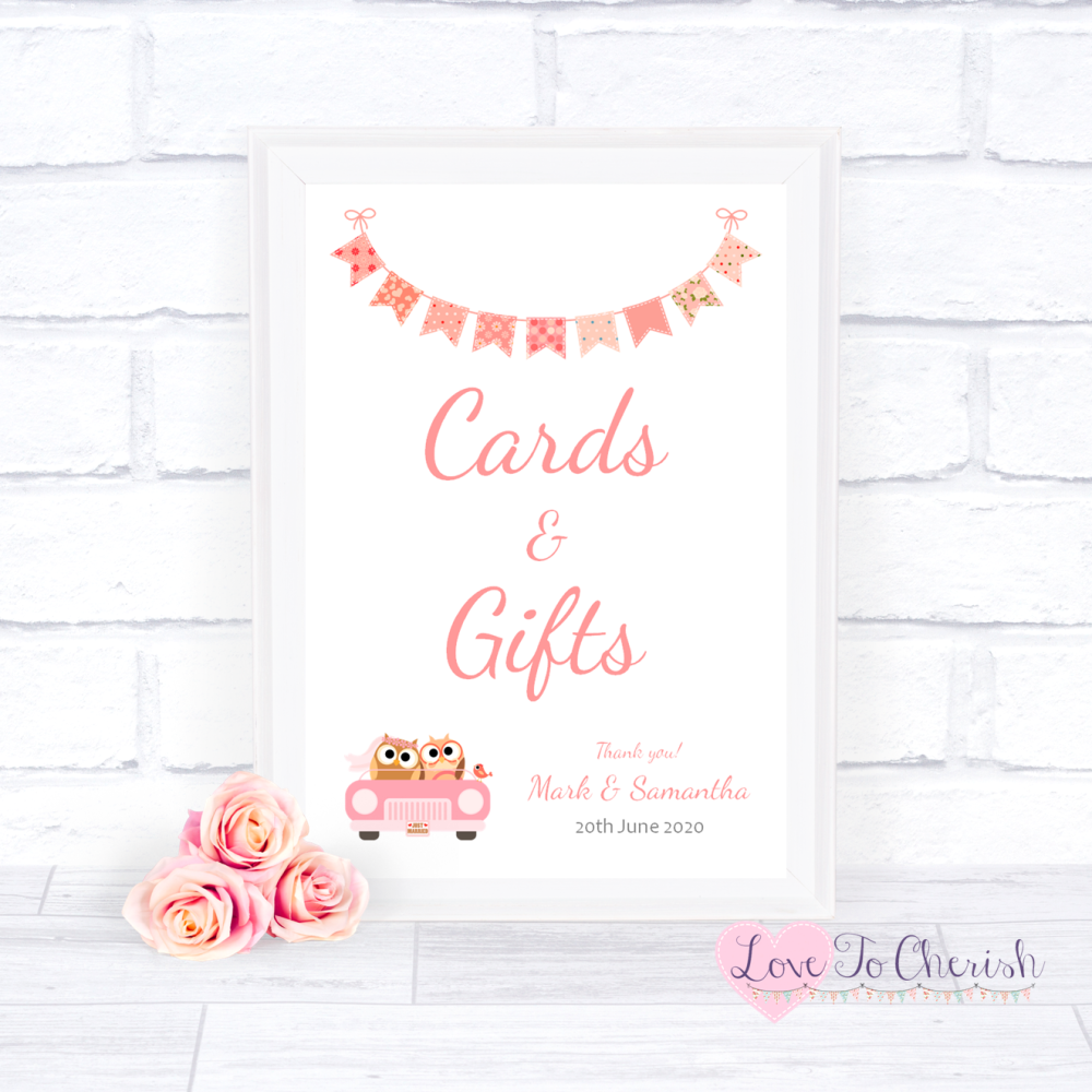 Cards & Gifts Wedding Sign - Bride & Groom Cute Owls in Car Peach | Love To
