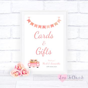 Bride & Groom Cute Owls in Car Peach - Cards & Gifts - Wedding Sign