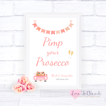 Bride & Groom Cute Owls in Car Peach - Pimp Your Prosecco - Wedding Sign