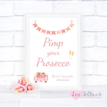 Bride & Groom Cute Owls in Car Peach - Pimp Your Prosecco - Wedding Sign