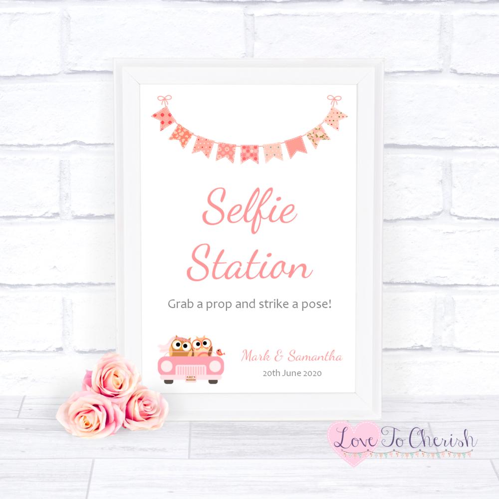 Selfie Station Wedding Sign - Bride & Groom Cute Owls in Car Peach | Love T