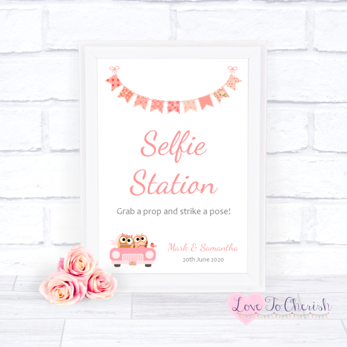 Selfie Station Wedding Sign - Bride & Groom Cute Owls in Car Peach | Love T