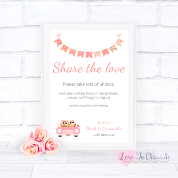 Bride & Groom Cute Owls in Car Peach - Share The Love - Photo Sharing - Wedding Sign