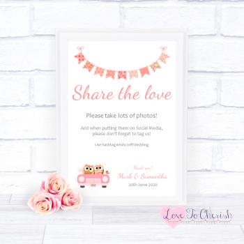 Bride & Groom Cute Owls in Car Peach - Share The Love - Photo Sharing - Wedding Sign