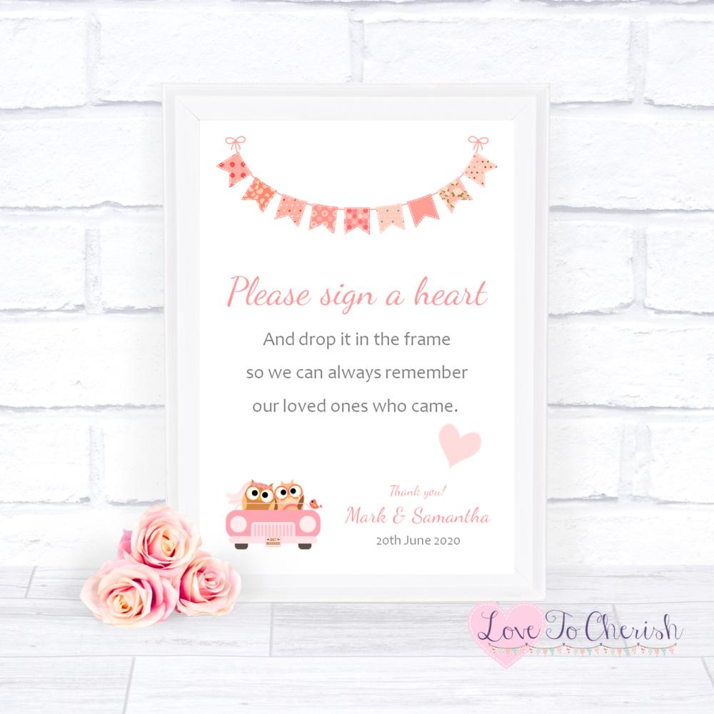 Sign A Heart Wedding Sign - Bride & Groom Cute Owls in Car Peach   Love To