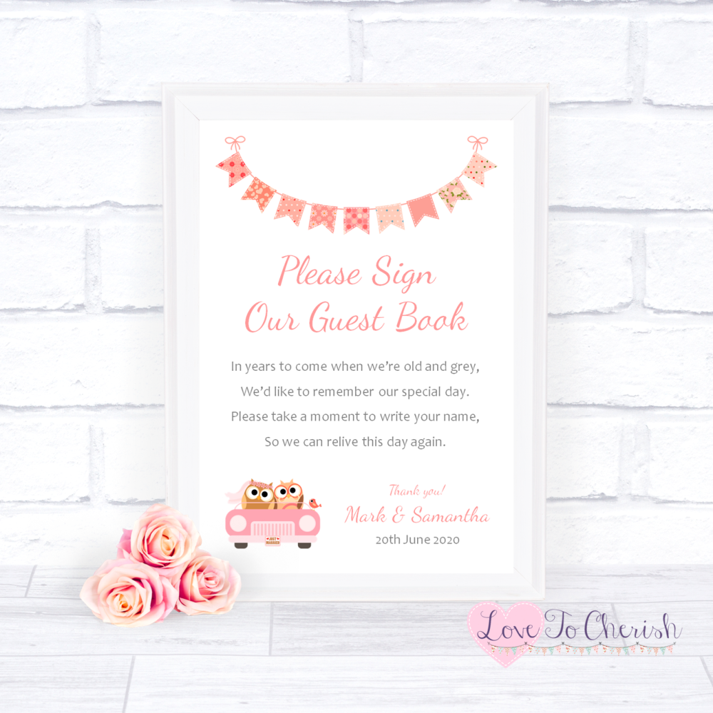 Sign Our Guest Book Wedding Sign - Bride & Groom Cute Owls in Car Peach | L