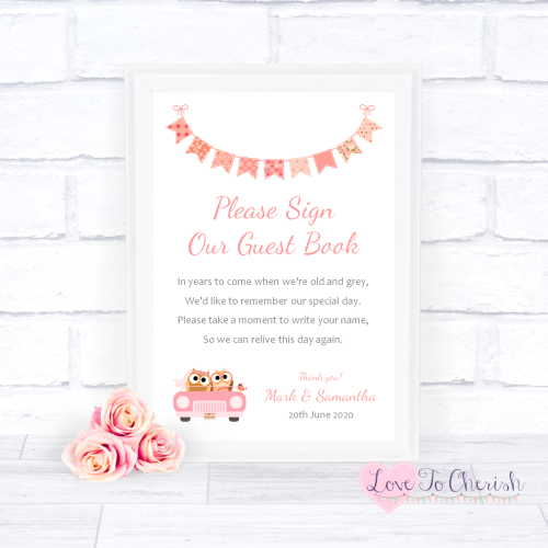 Sign Our Guest Book Wedding Sign - Bride & Groom Cute Owls in Car Peach | L