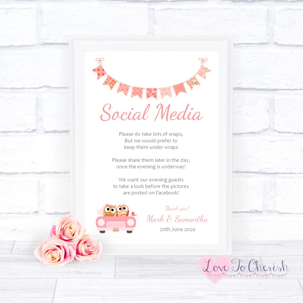 Social Media Wedding Sign - Bride & Groom Cute Owls in Car Peach | Love To