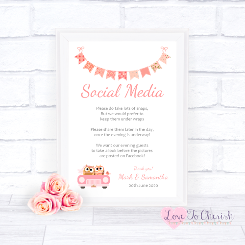 Social Media Wedding Sign - Bride & Groom Cute Owls in Car Peach | Love To