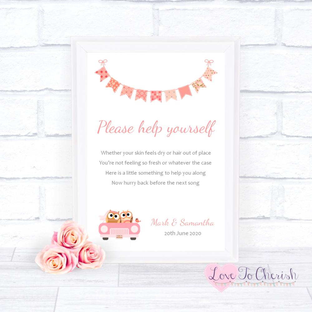 Toiletries/Bathroom Refresh Wedding Sign - Bride & Groom Cute Owls in Car P