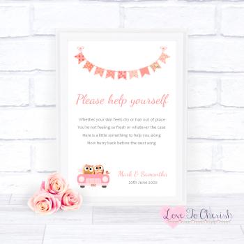 Bride & Groom Cute Owls in Car Peach - Toiletries/Bathroom Refresh - Wedding Sign