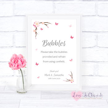 Cherry Blossom & Butterflies - Bubbles - Wedding Sign