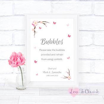 Cherry Blossom & Butterflies - Bubbles - Wedding Sign